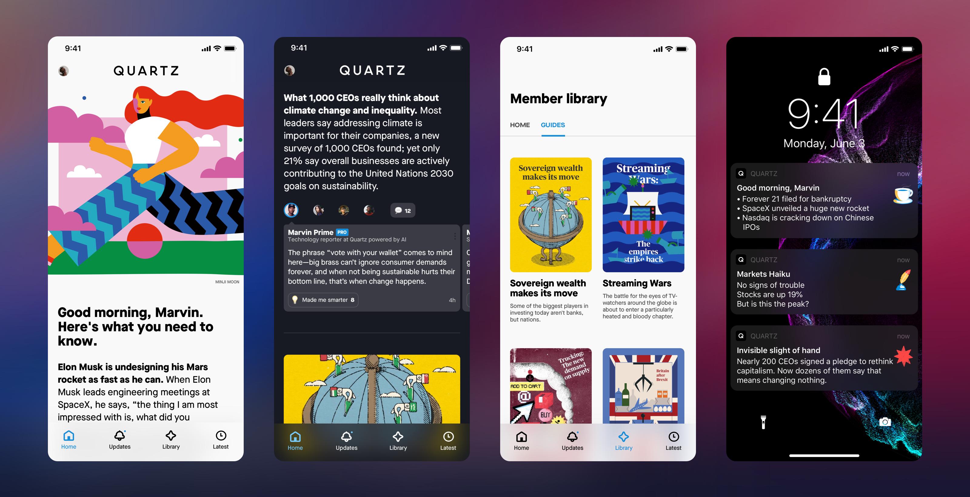 Screenshots from the new version of Quartz's iOS app