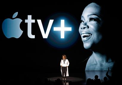 Oprah Winfrey speaks during an Apple special event at the Steve Jobs Theater in Cupertino