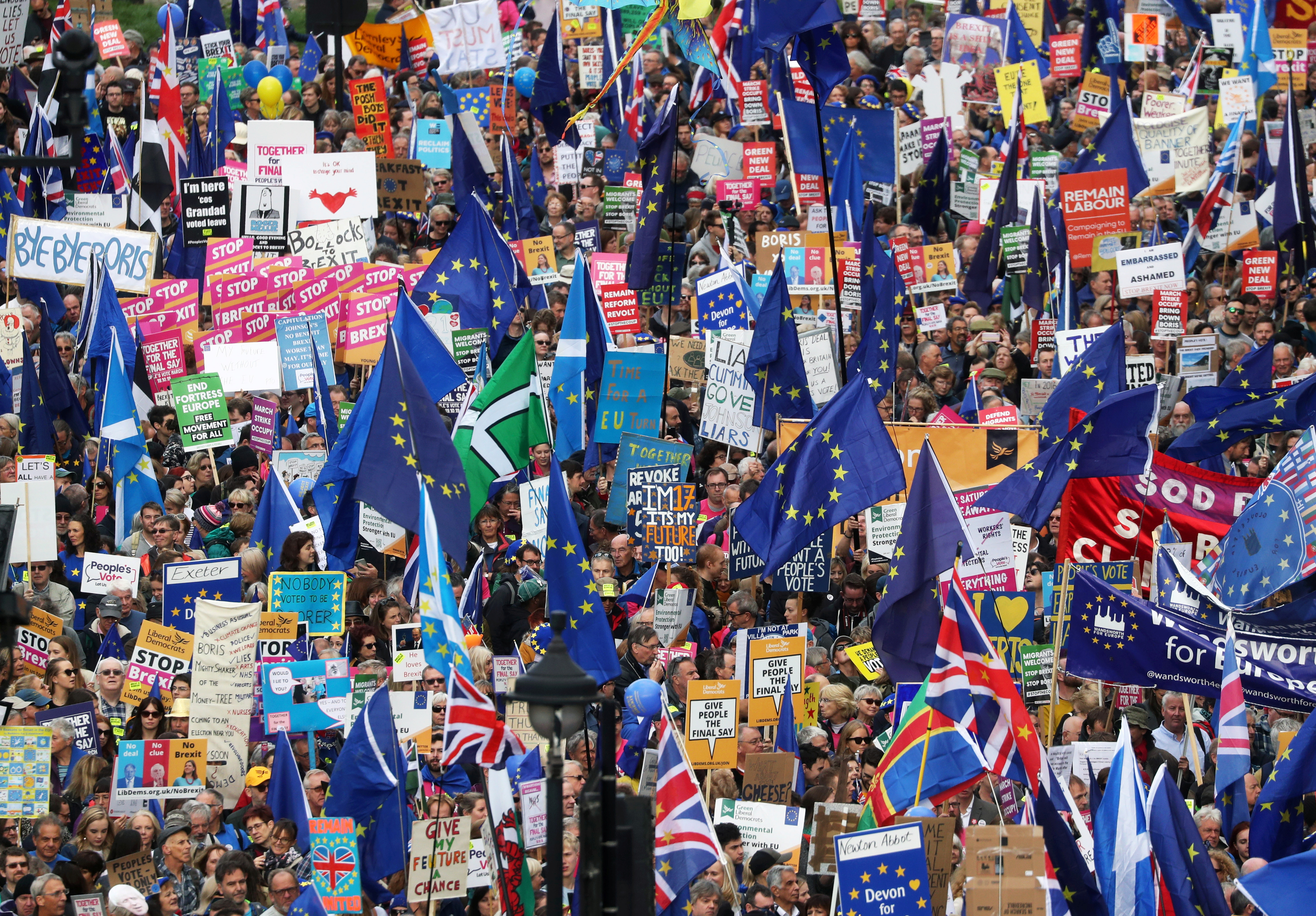 EU supporters march as parliament sits on a Saturday for the first time since the 1982 Falklands War, to discuss Brexit in London, Britain, October 19, 2019.