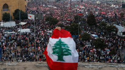 A general view of demonstrators during an anti-government protest in downtown Beirut, Lebanon October 20, 2019.