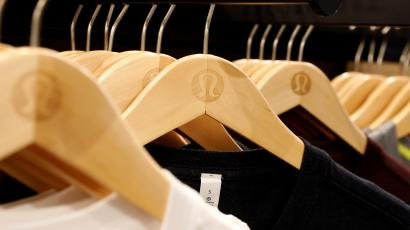Clothes are displayed in a Lululemon Athletica retail store in New York