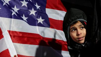 New York Yemeni Americans demonstrate in response to U.S. President Donald Trump's travel ban and recent denials of visa applications in New York