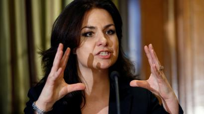 Former British Conservative Party MP Heidi Allen speaks at a news conference in London