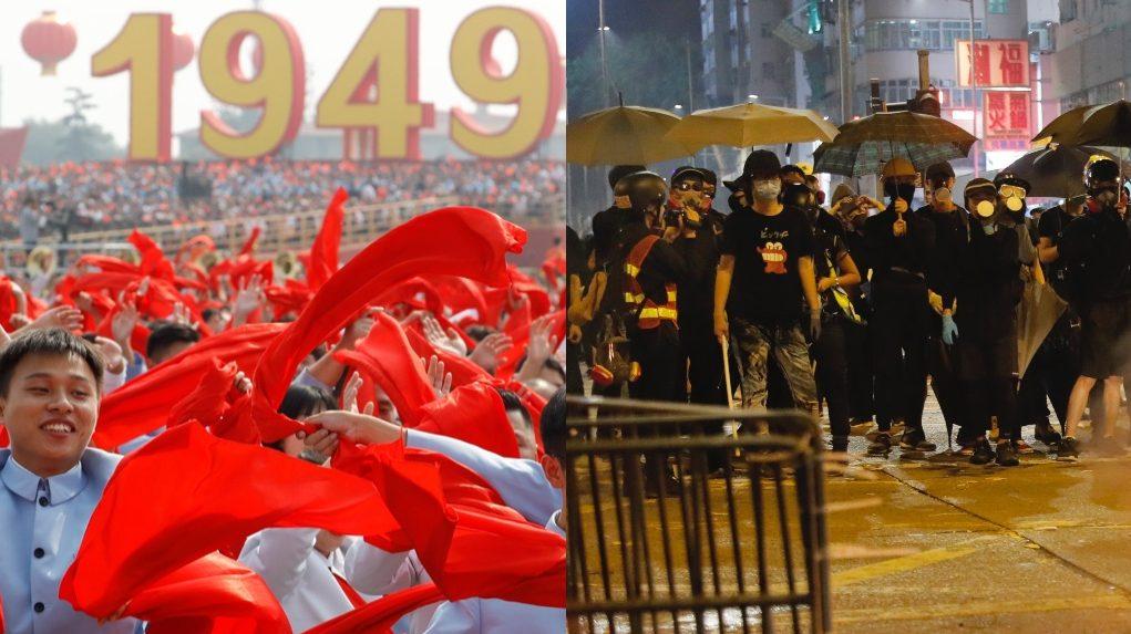 Beijing parade and Hong Kong protest