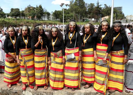Ethiopian Oromo women dressed in a traditional costumes take part in the Irreecha celebration, the Oromo People thanksgiving ceremony in Addis Ababa, Ethiopia. October 5, 2019.