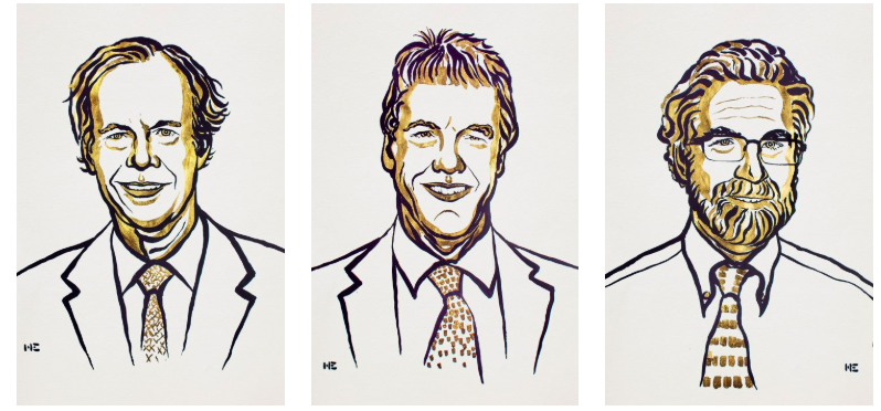 Sketches of the headshots of the winners of the Nobel Prize in medicine