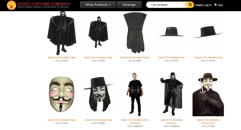 Rubies' V for Vendetta offerings. Screenshot on Oct. 30, 2019.