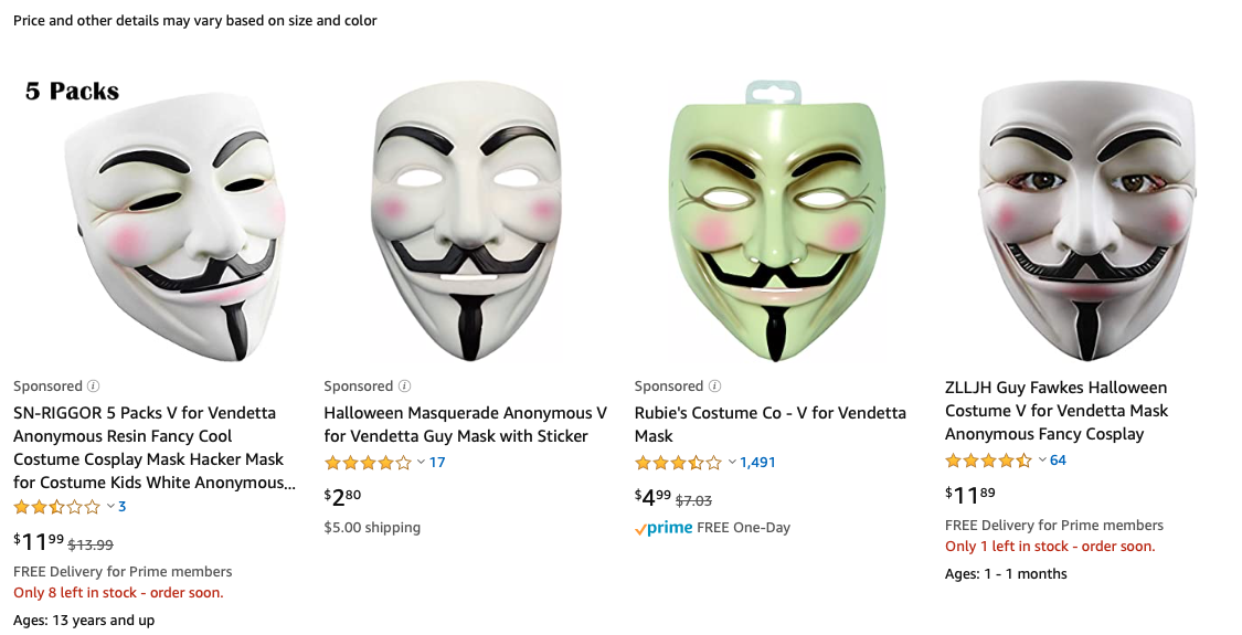 V for Vendetta masks on Amazon.