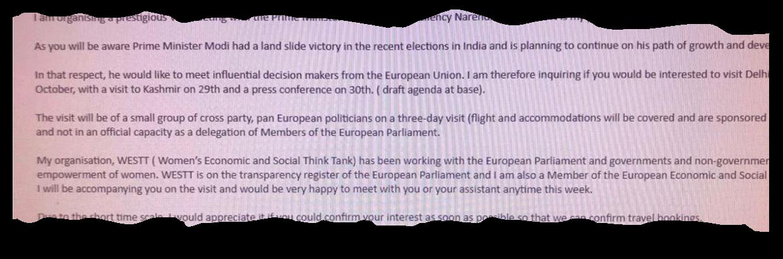 A screenshot of the email invitation Sharma sent one European MP