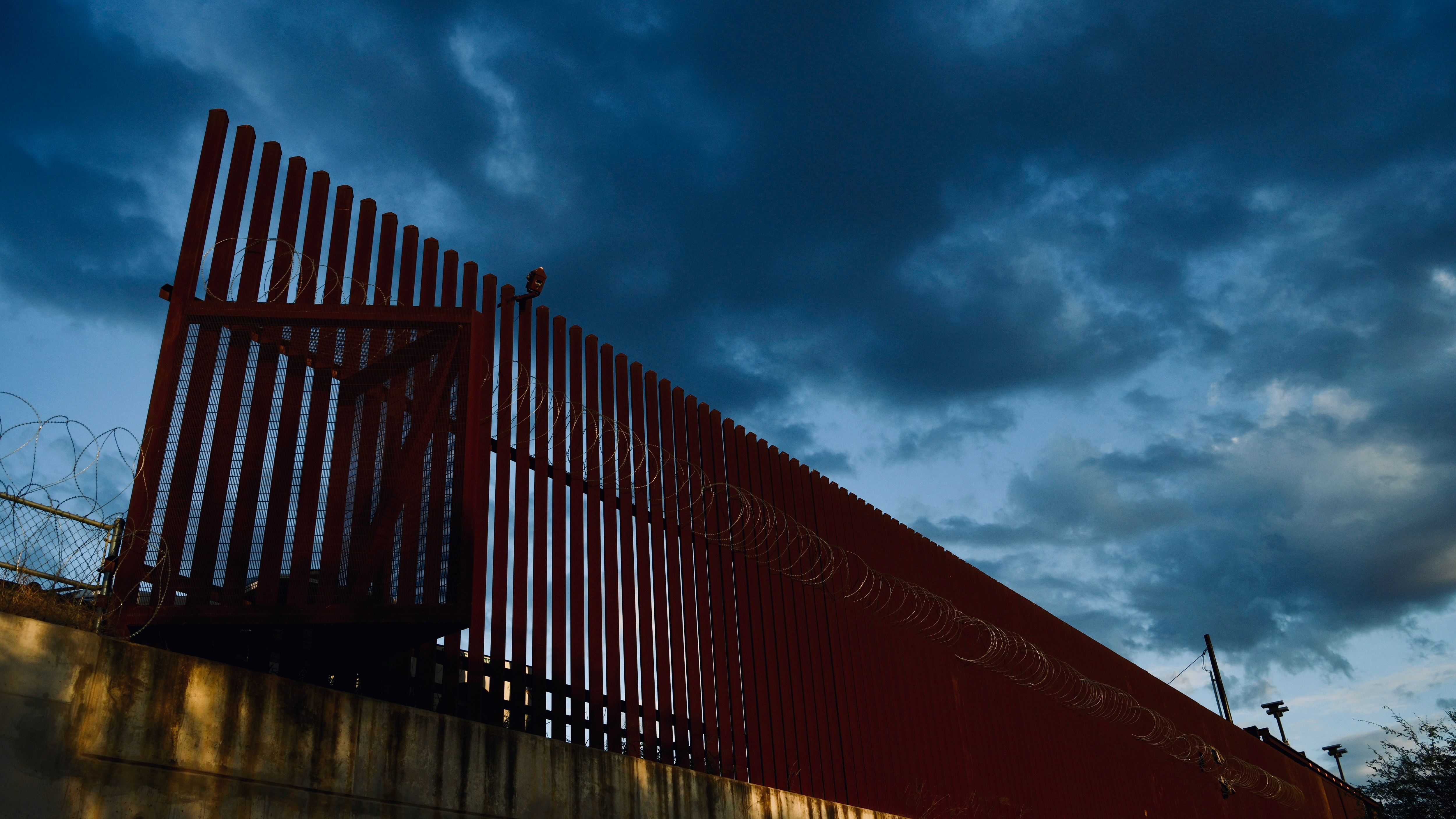A portion of the US-Mexico border fence.