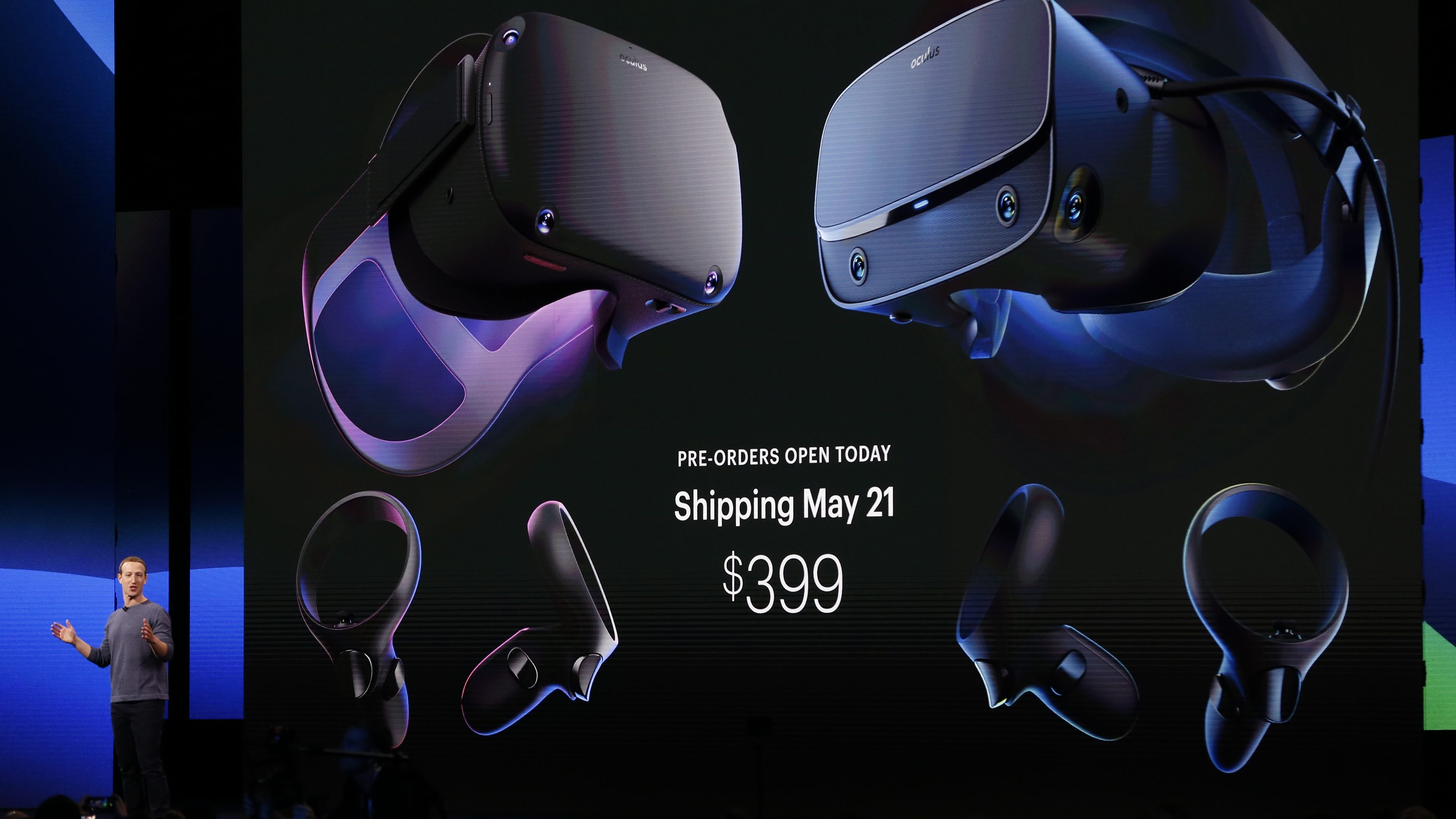 Facebook CEO Mark Zuckerberg speaks about Oculus virtual reality headsets.