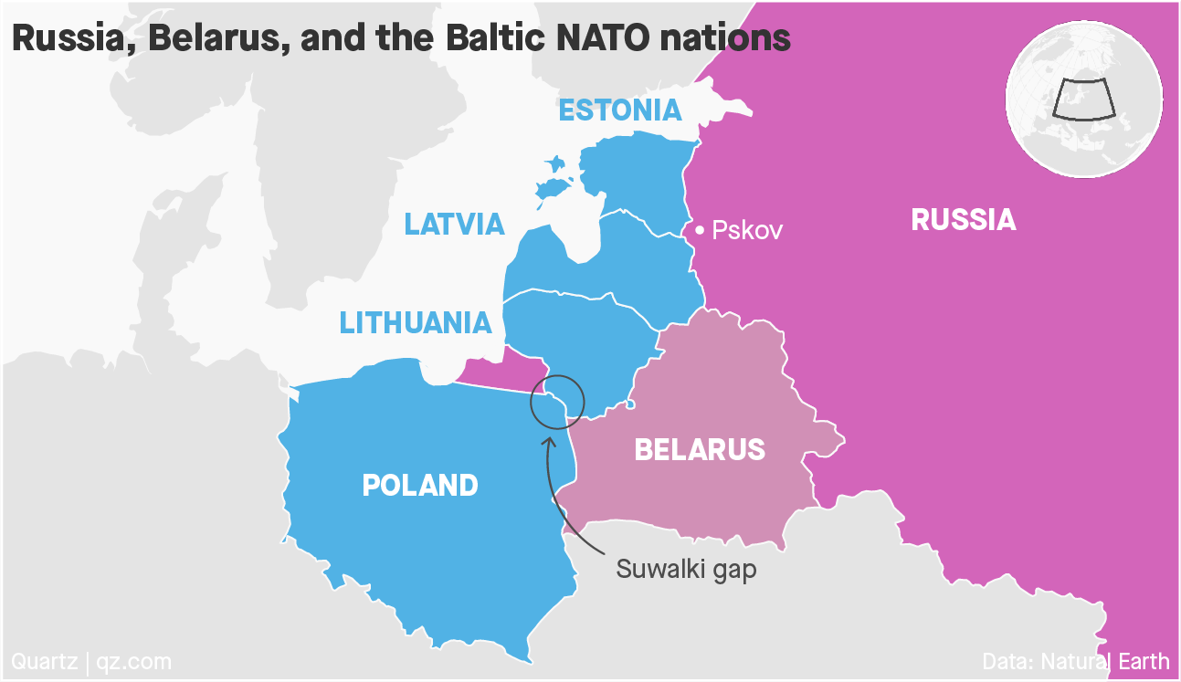 This map shows the NATO ally countries Poland, Lithuania, Latvia, and Estonia and the broad border they share with Russia and Belarus.