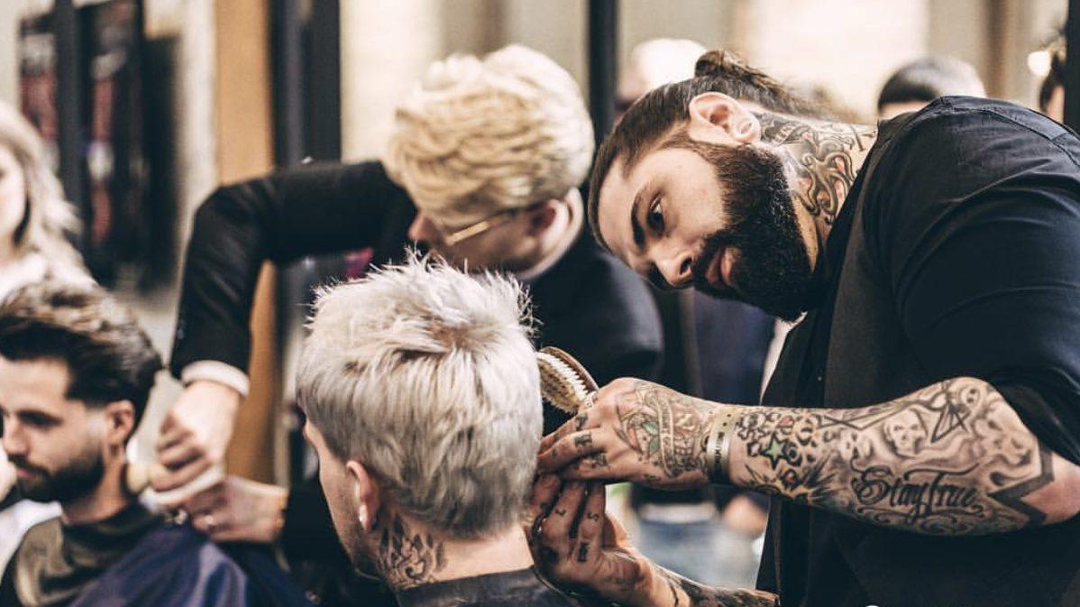 Barber Tom Chapman at work.