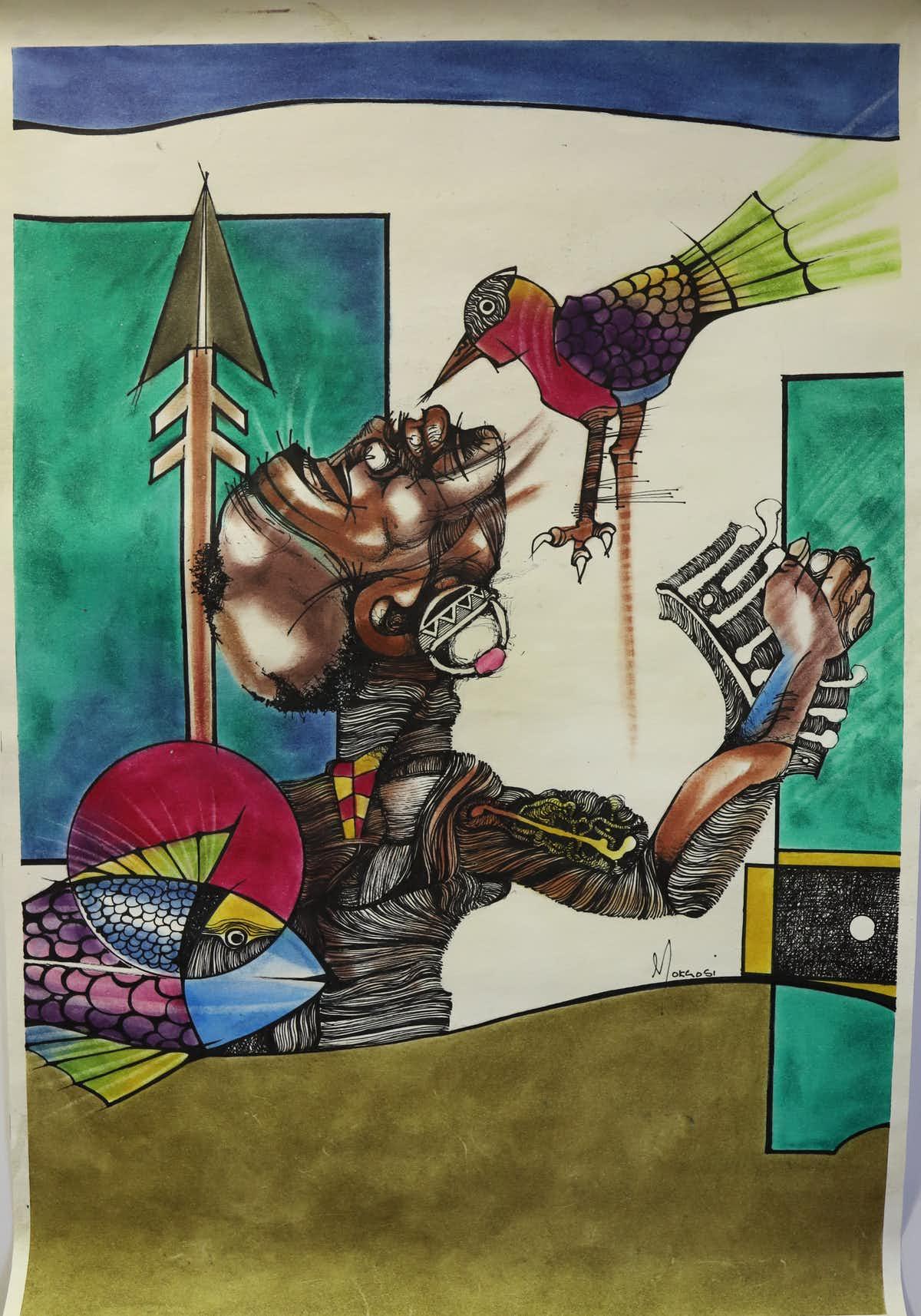 A fake Nat Mokgosi (1946 - 2016) artwork.