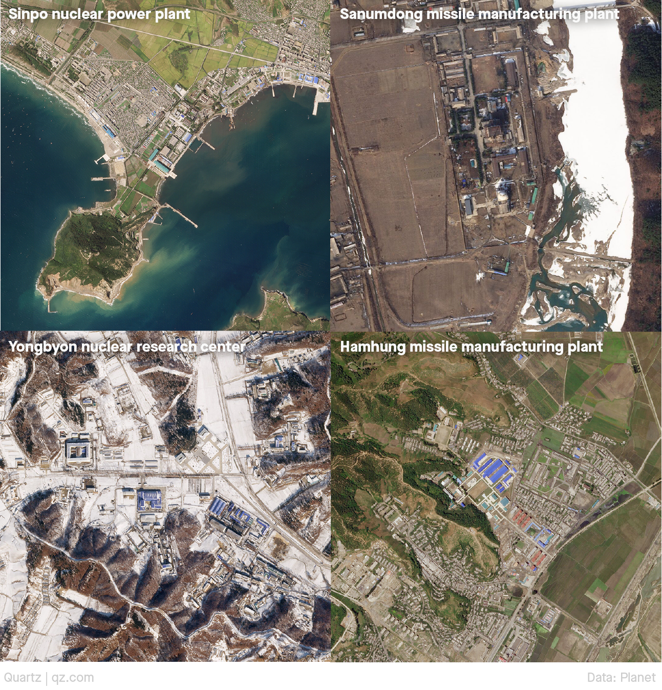 Four satellite images of other nuclear plants of interest in the Korean peninsula. They are (clockwise): Sinpo, Sanumdong, Yongbyon, and Hamhung.