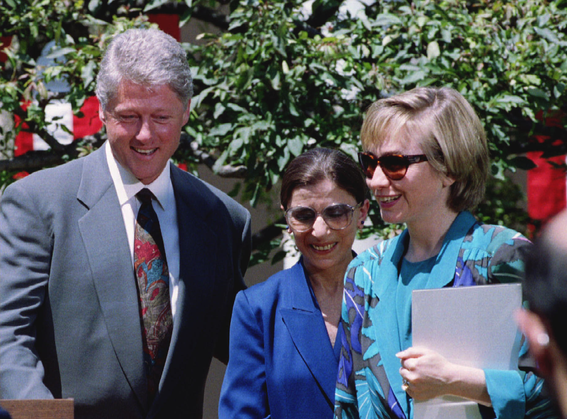 Bill and Hillary Clinton with RBG in 1993.