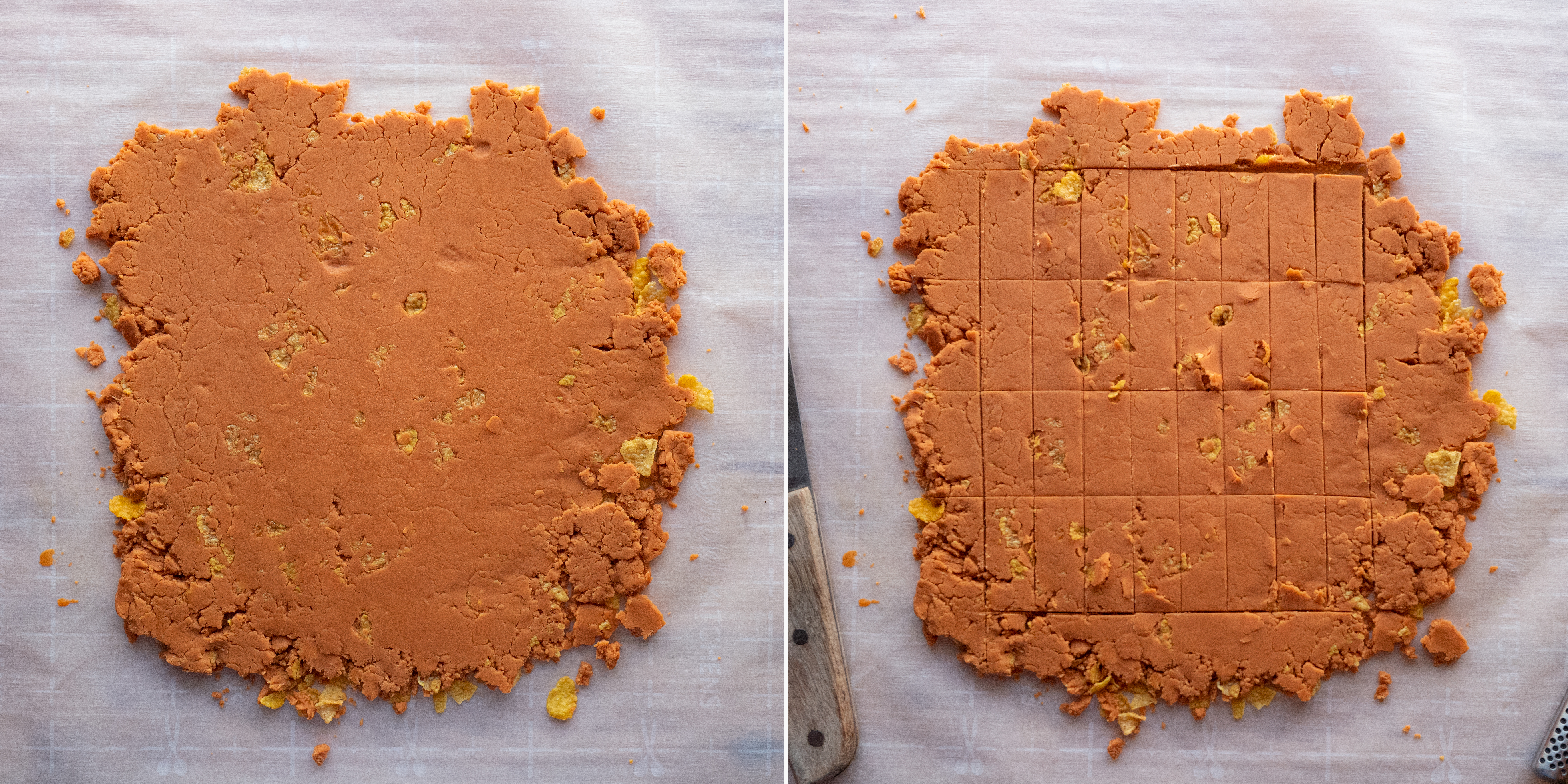 There's two photos side by side. In the first photo, the rolled out filling in a rough square. In the second photo, slices have been made evenly across the mixture. These slices match the proportions and dimensions of our mold. They will be separated and made into our candy bar filling.