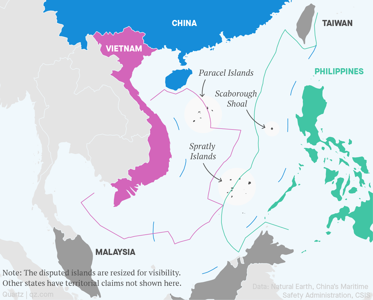 This map shows the disputed island claims between Vietnam, the Philippines, and China in the South China Sea. They intersect on the Spratly, Scarborough Shoal, and Paracel islands.