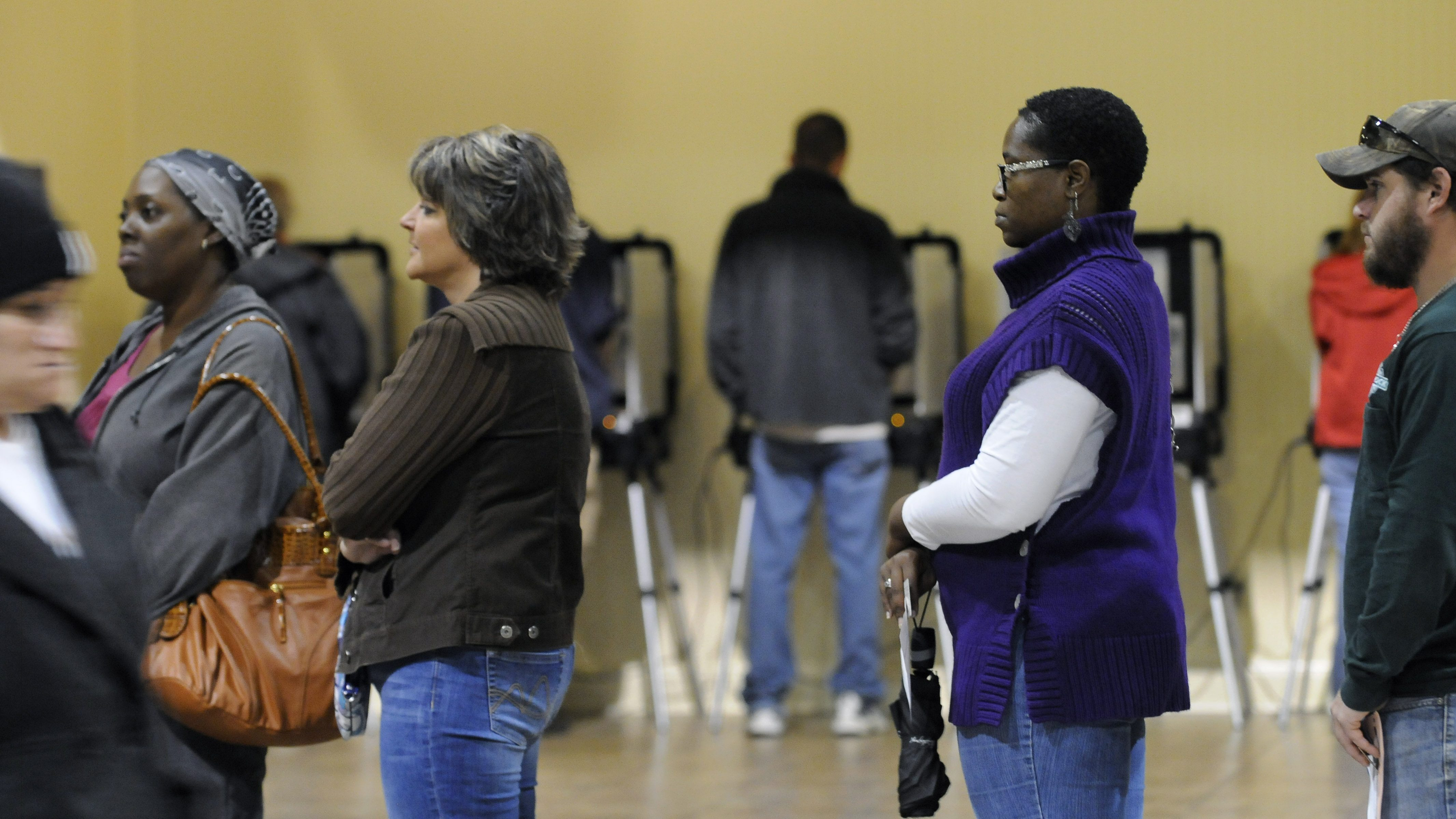 Voters in line in Georgia, United States