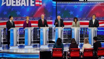 Democratic US presidential candidates speak during the fifth 2020 campaign debate.