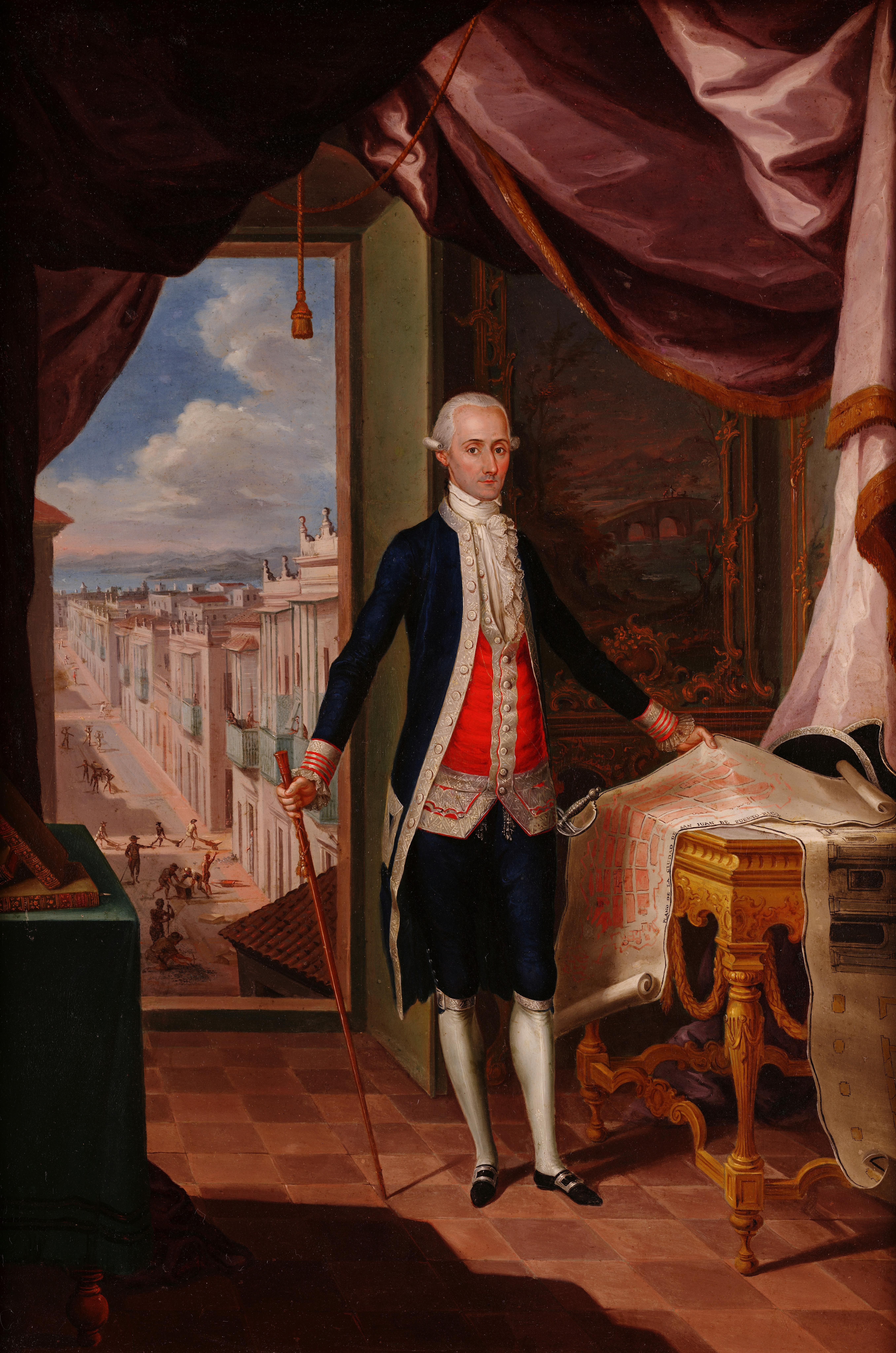 Oil painting; El Gobernador Don Miguel Antonio de Ustáriz by José Campeche