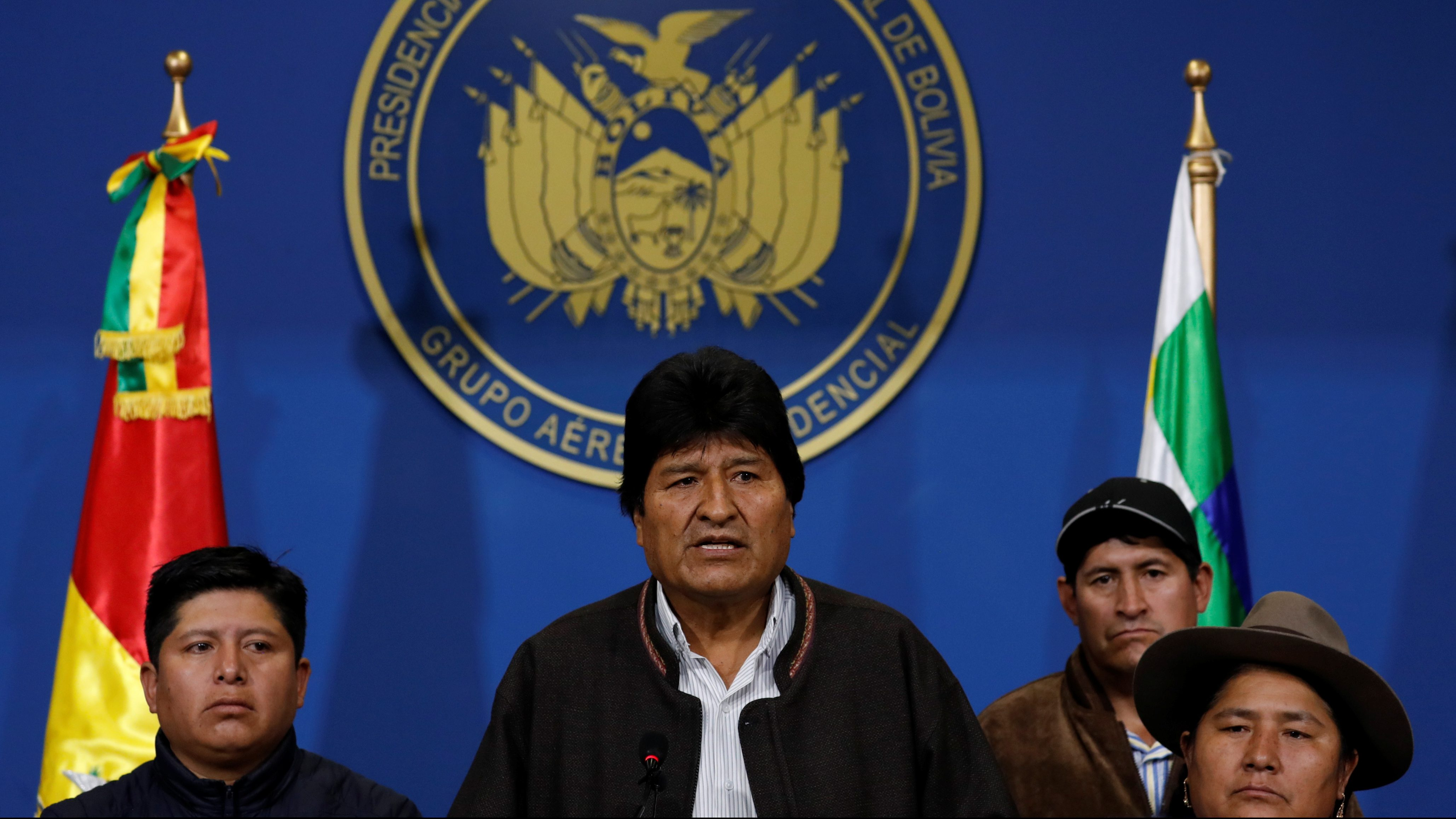 Bolivia's President Evo Morales addresses the media