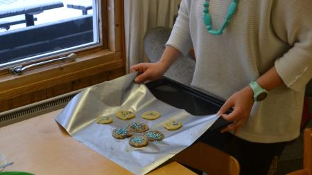Cookies on a pan at the Kotikolo family café