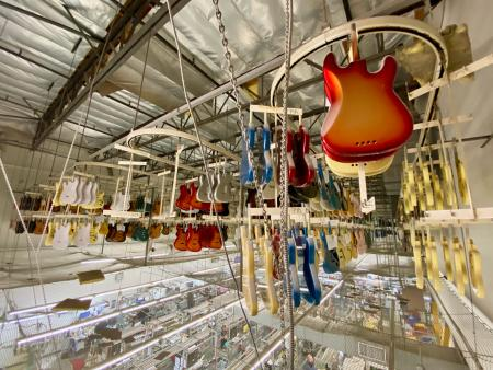 Guitar bodies in storage at the Fender plant