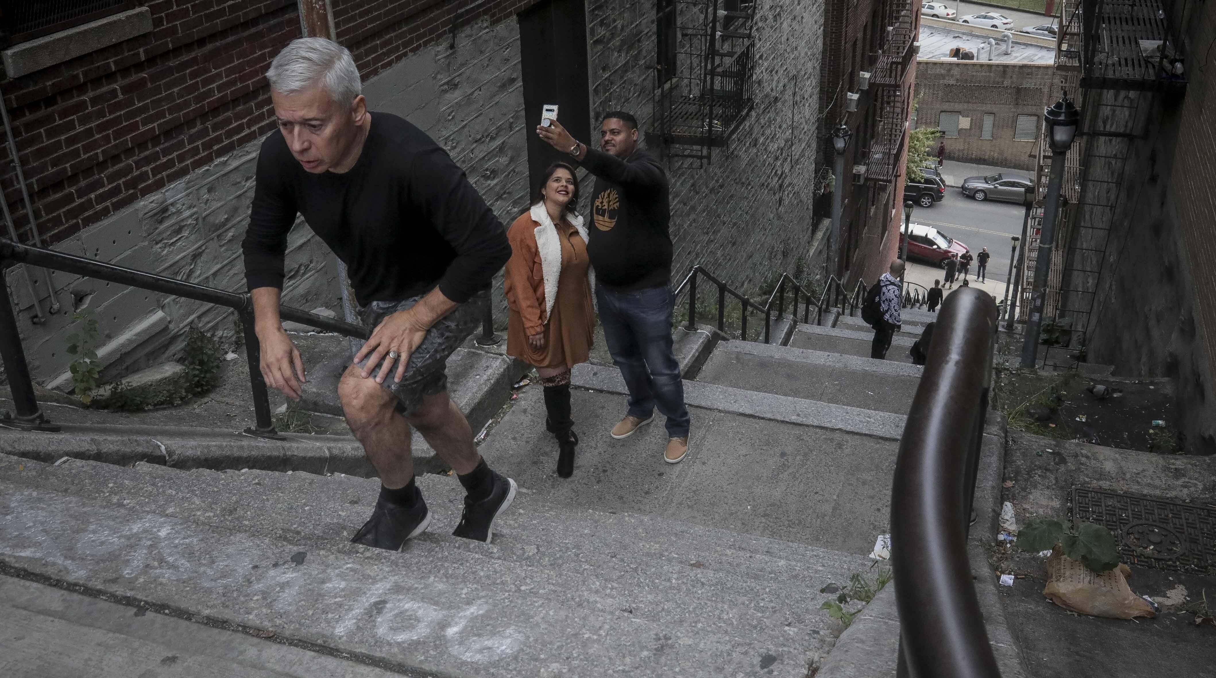 Man climbs Joker Stairs