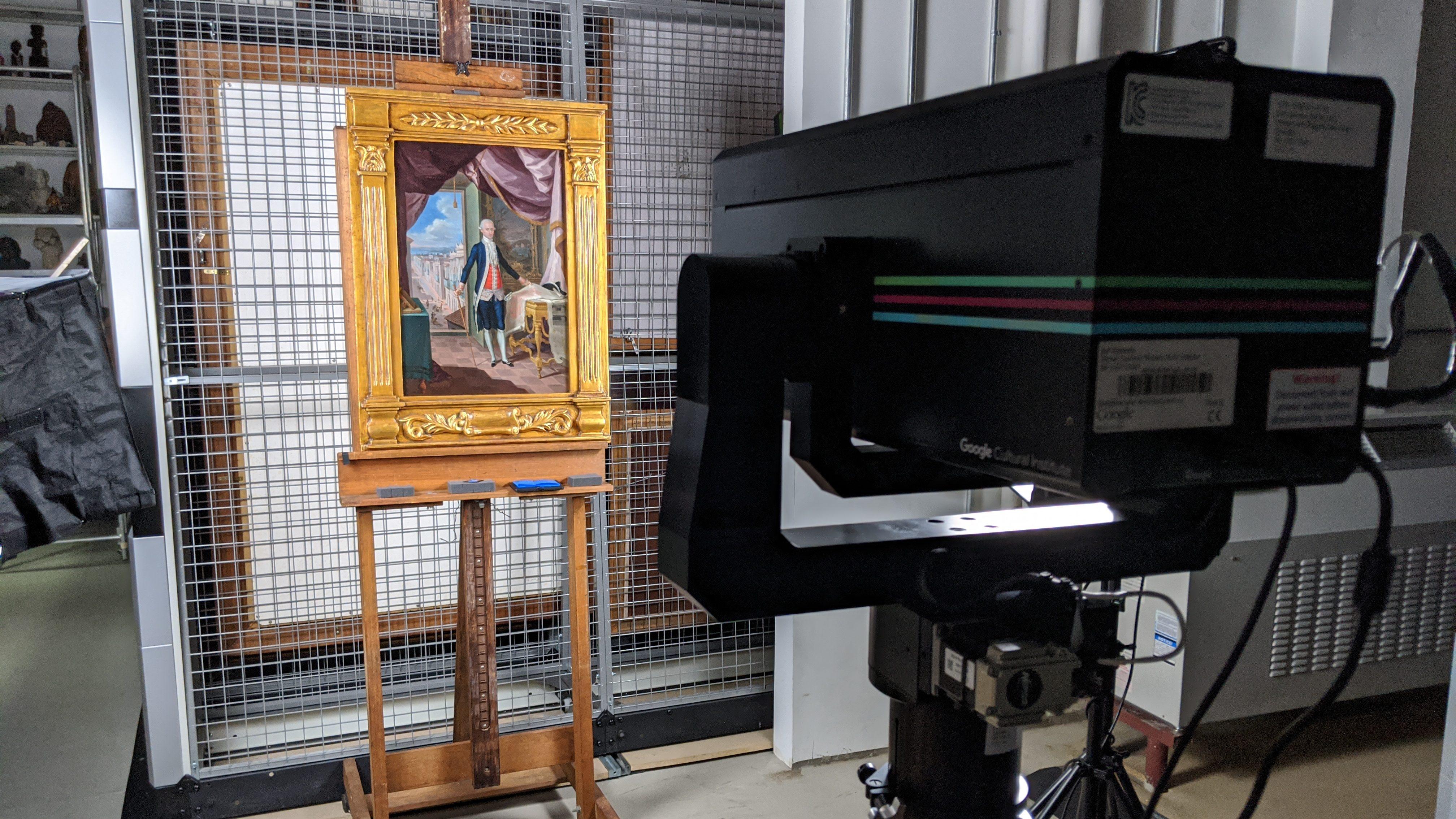Google's Art Camera scanning a painting at Instituto de Cultura Puertorriqueña