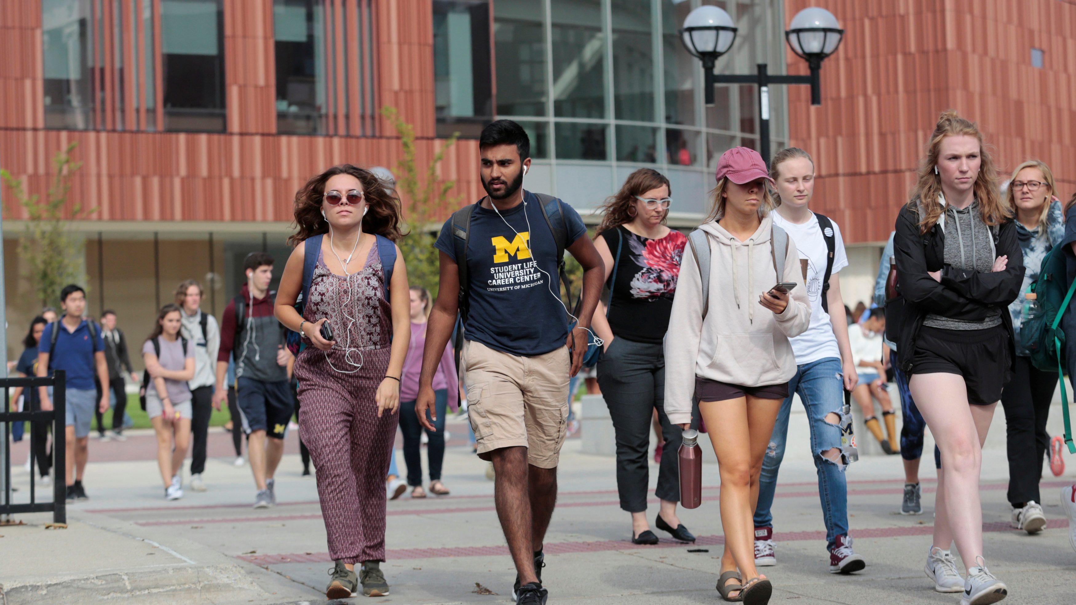 University of Michigan students walk on campus in Ann Arbor