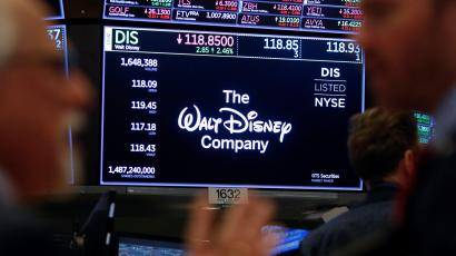 A screen displaying the share price of The Walt Disney Company is seen on the trading floor at the New York Stock Exchange (NYSE) in New York