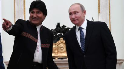 Bolivian president Evo Morales points and smiles at a meeting with Russian counterpart Vladimir Putin in Moscow in July.