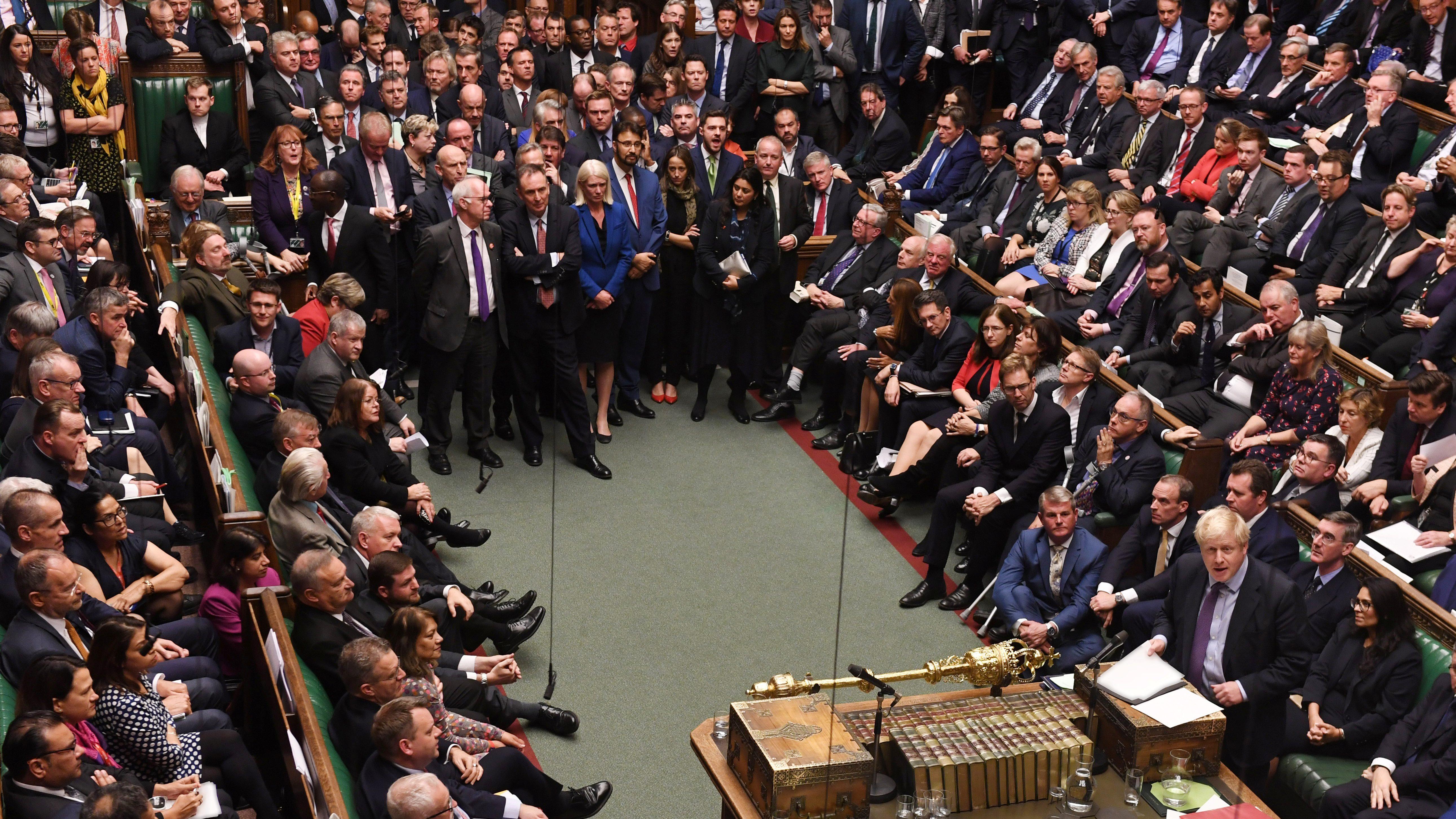 Britain's Prime Minister Boris Johnson speaks at the House of Commons in London