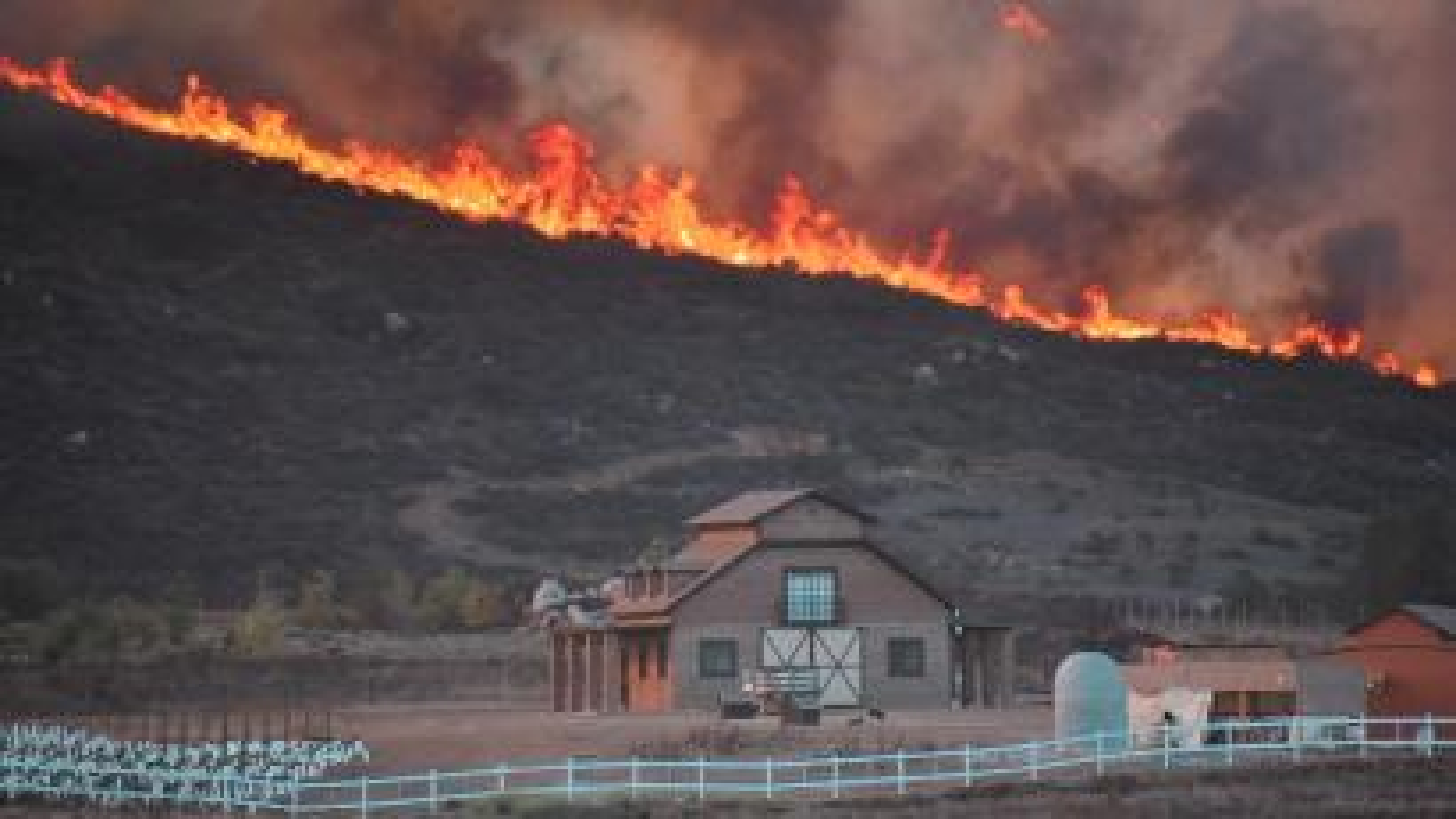 A fire burns in Valle De Guadalupe, Baja California
