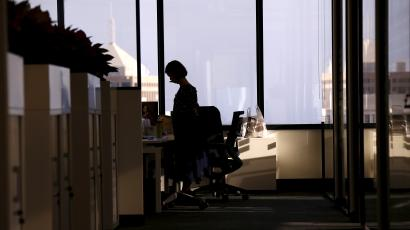An employee of software company Nuix stands in their office located in central Sydney, Australia