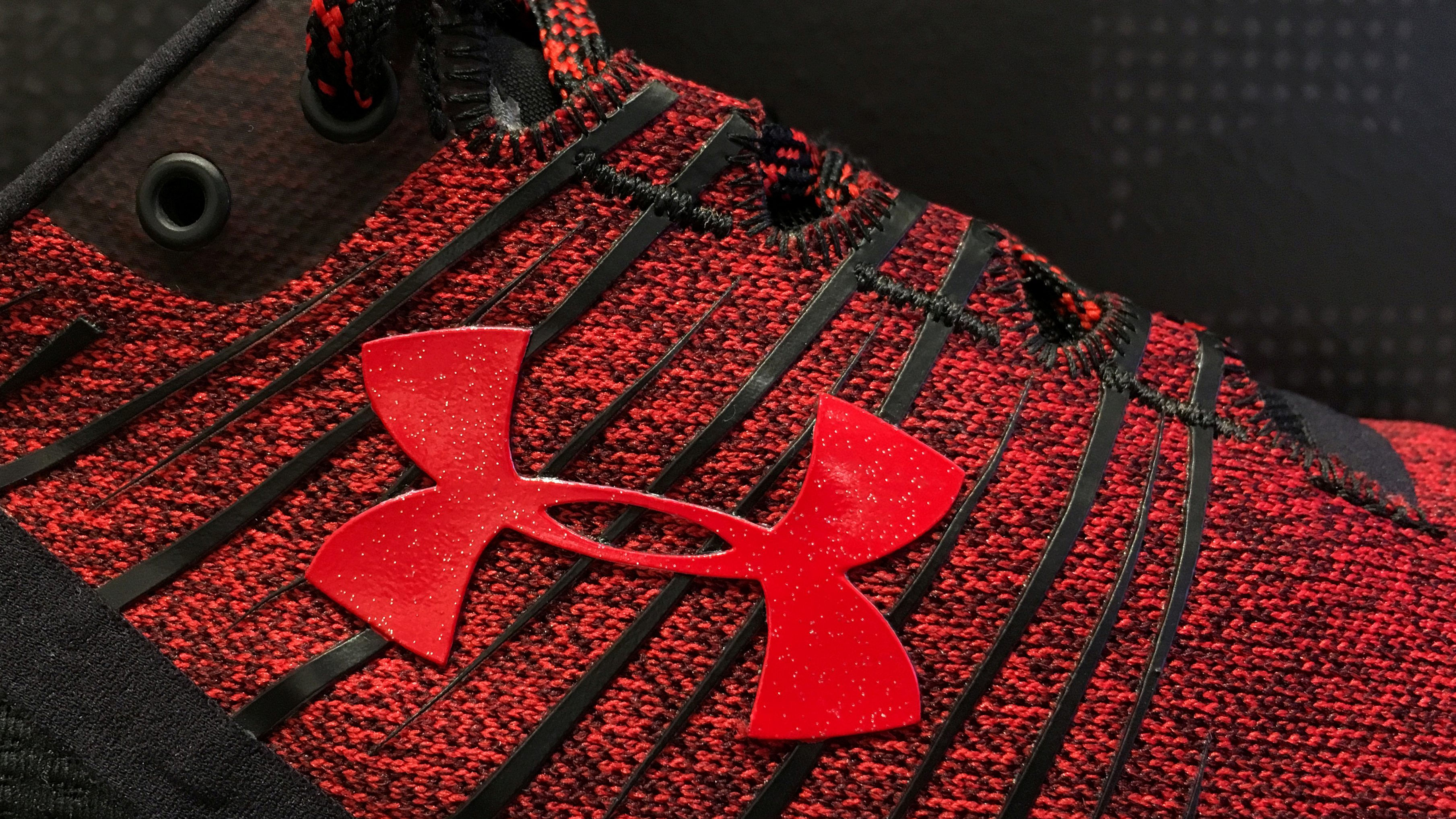 A red Under Armour sneaker