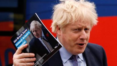 Britain's Prime Minister Boris Johnson arrives for the Conservative party's manifesto launch in Telford, Britain November 24, 2019.