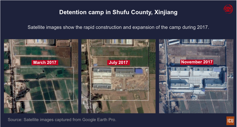 Satellite images show a detention camp created out of nothing over 9 months in 2017.