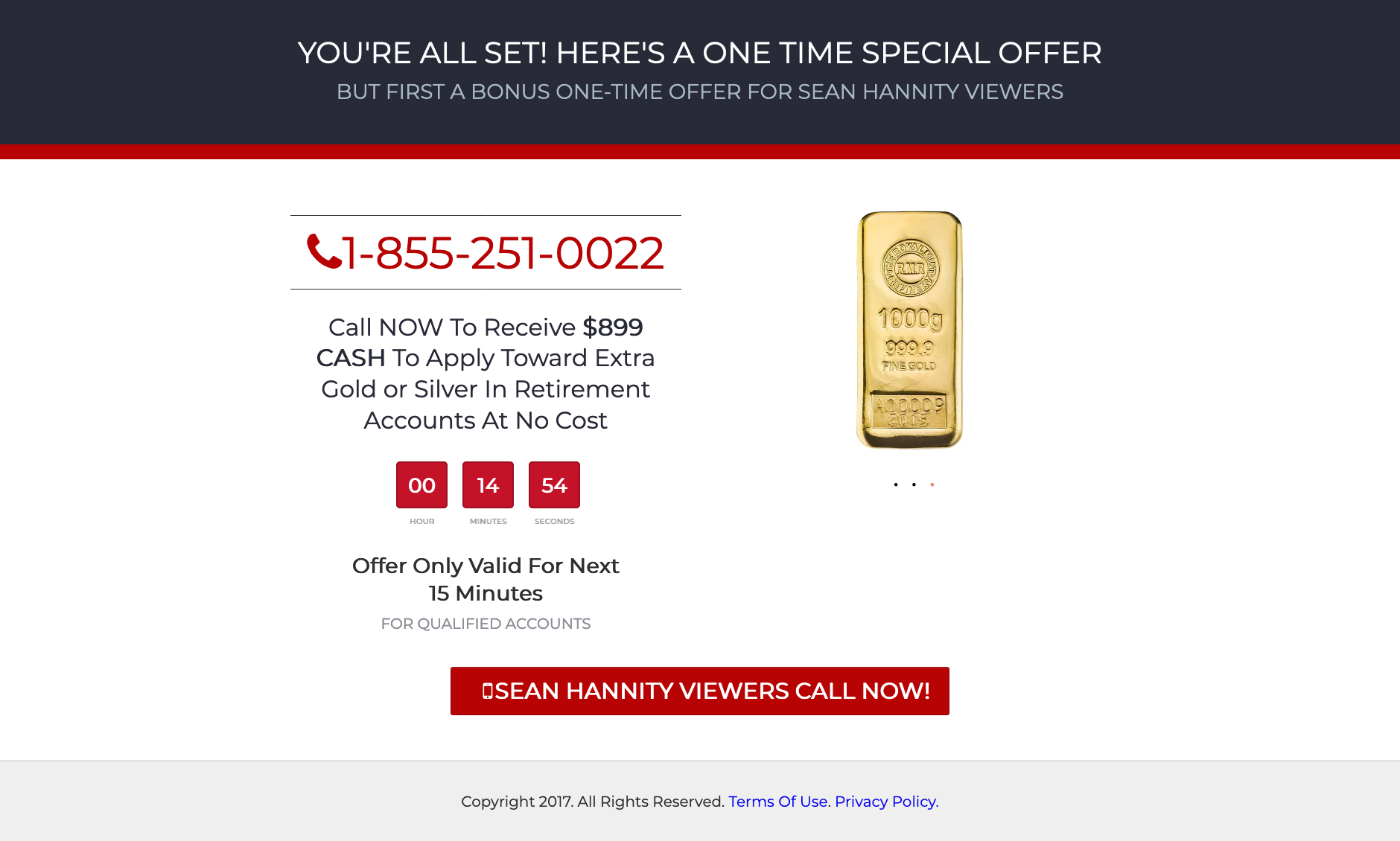 "A screenshot of FoxInsiders.com.co that says ""Call NOW to receive $899 CASH to apply toward extra gold or silver in retirement accounts at no cost."" and features a countdown time. It also says Sean Hannity Viewers Call Now"