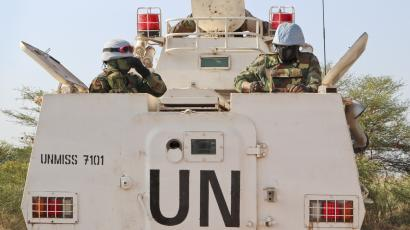 UN peacekeepers on a tank