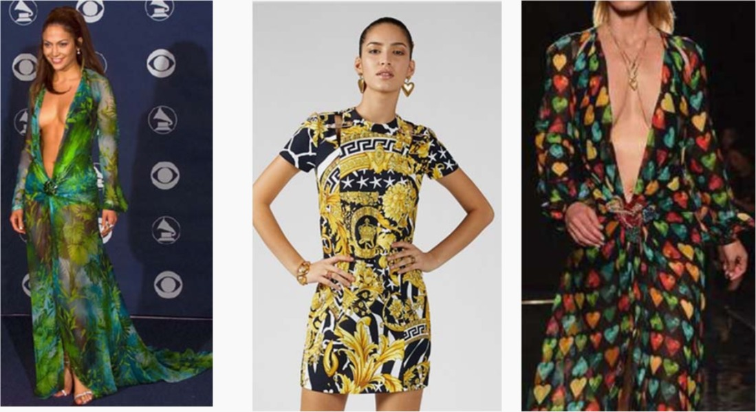 Three Versace designs as pictured in its lawsuit