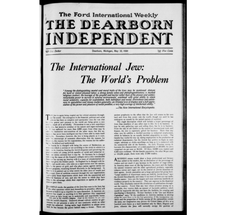 The front page of Dearborn Independent from May 1920