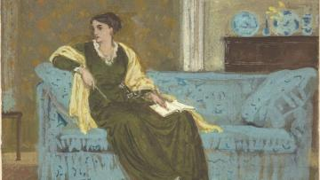 A painting of a woman on a couch
