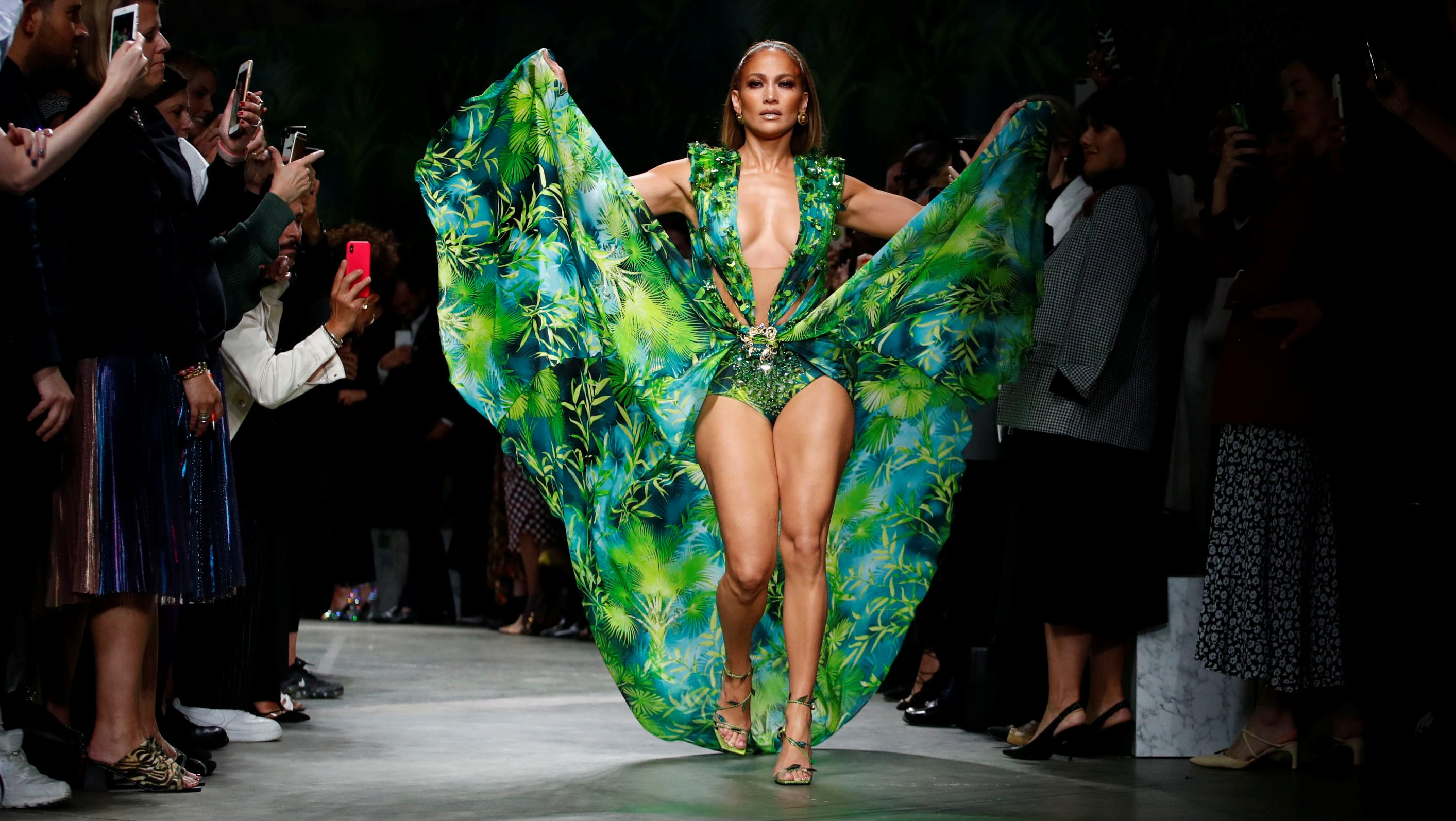 Jennifer Lopez in the famous green Versace dress that broke the internet.