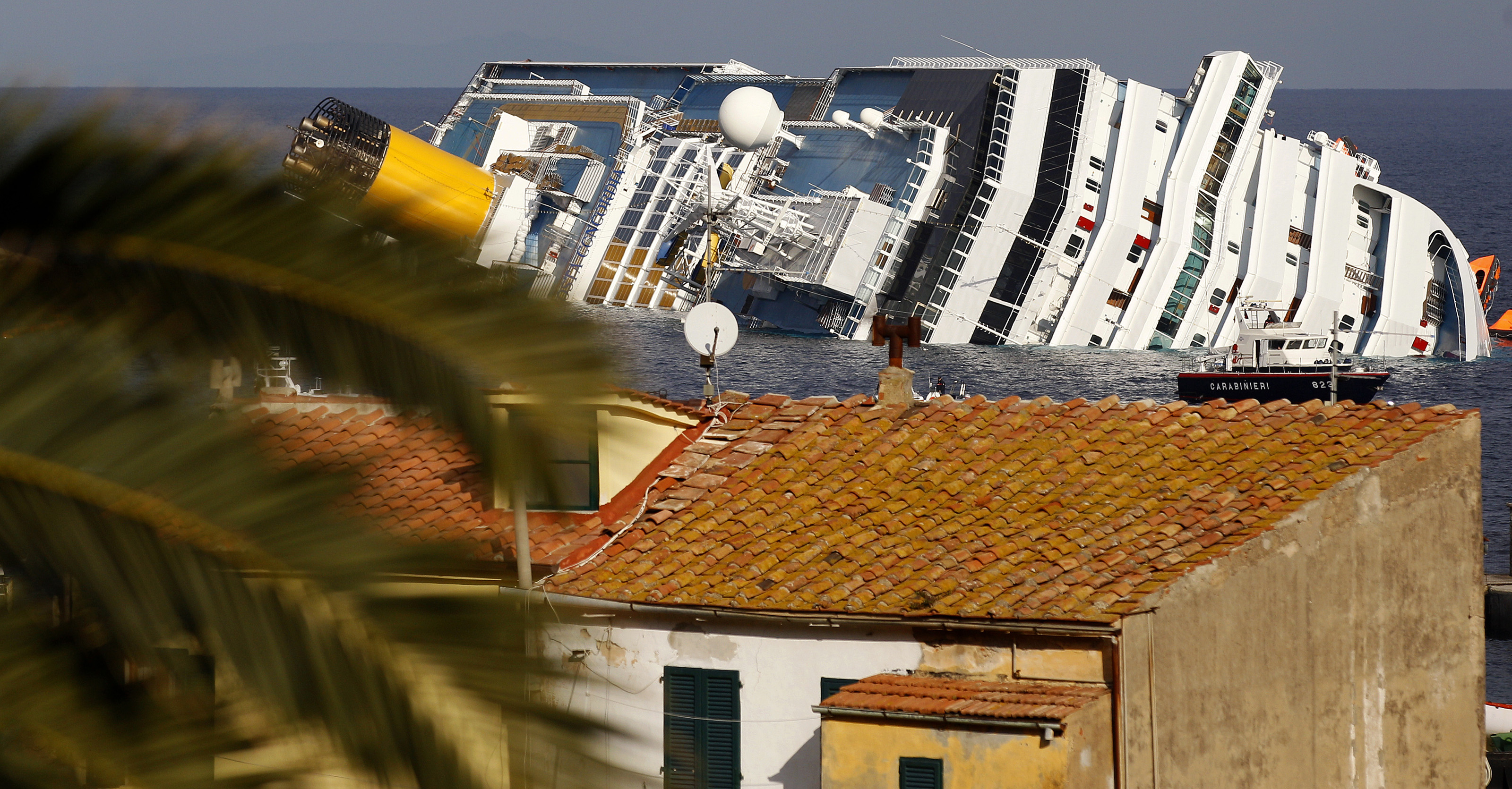 A view of the Costa Concordia cruise ship that ran aground at Giglio island