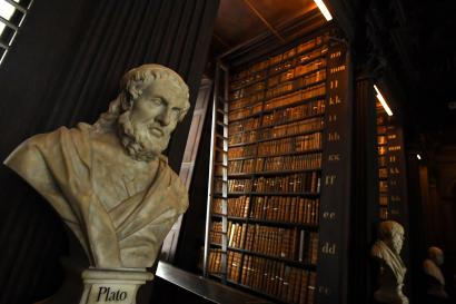 A bust of Plato is seen in the Long Room of the old library that houses 200,000 of Trinity College's oldest books in Dublin