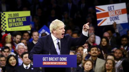 Britain's Prime Minister Boris Johnson speaks during a final general election campaign event in London, Britain, December 11, 2019.