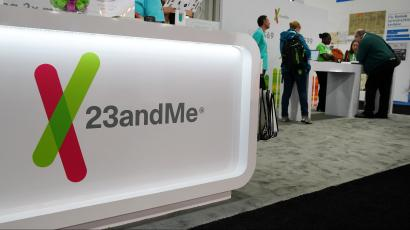 a 23andMe booth at some kind of convention