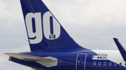 The logo of GoAir airline is pictured on an A320neo aircraft at the builder's headquarters of Airbus in Colomiers near Toulouse